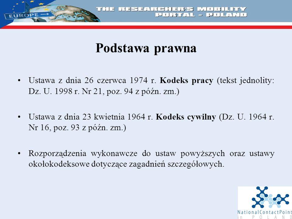 Podstawa prawna Ustawa z dnia 26 czerwca 1974 r. Kodeks pracy (tekst jednolity: Dz.