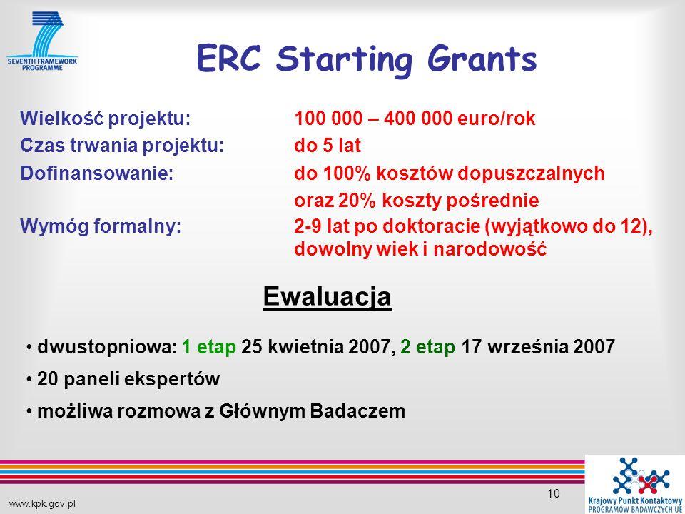 www.kpk.gov.pl 10 ERC Starting Grants Ewaluacja dwustopniowa: 1 etap 25 kwietnia 2007, 2 etap 17 września 2007 20 paneli ekspertów możliwa rozmowa z Głównym Badaczem Wielkość projektu: 100 000 – 400 000 euro/rok Czas trwania projektu: do 5 lat Dofinansowanie:do 100% kosztów dopuszczalnych oraz 20% koszty pośrednie Wymóg formalny: 2-9 lat po doktoracie (wyjątkowo do 12), dowolny wiek i narodowość