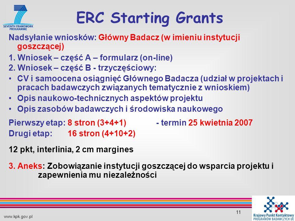 www.kpk.gov.pl 11 Nadsyłanie wniosków: Główny Badacz (w imieniu instytucji goszczącej) 1.