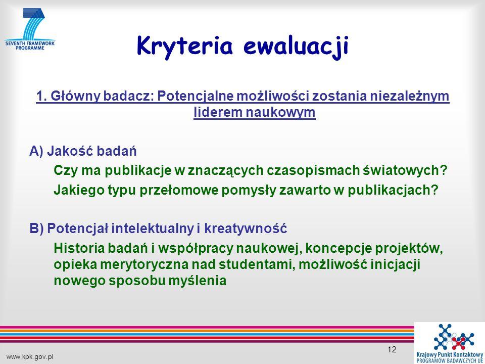 www.kpk.gov.pl 12 Kryteria ewaluacji 1.