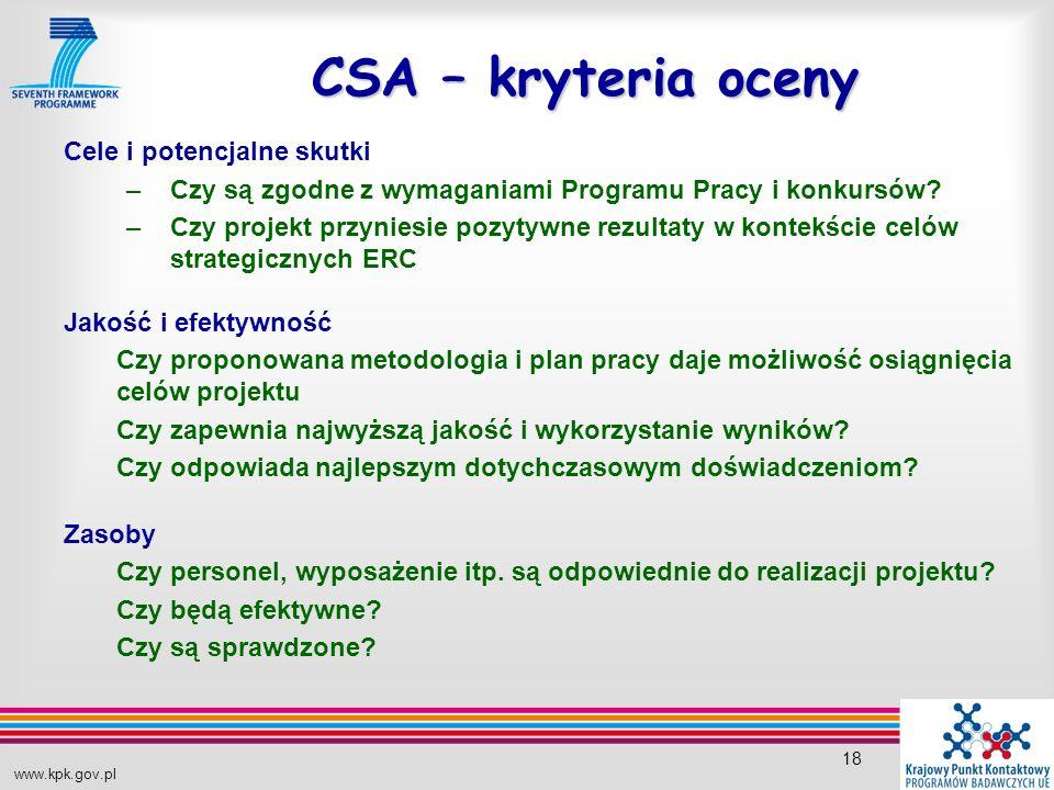 www.kpk.gov.pl 18 CSA – kryteria oceny Cele i potencjalne skutki –Czy są zgodne z wymaganiami Programu Pracy i konkursów.
