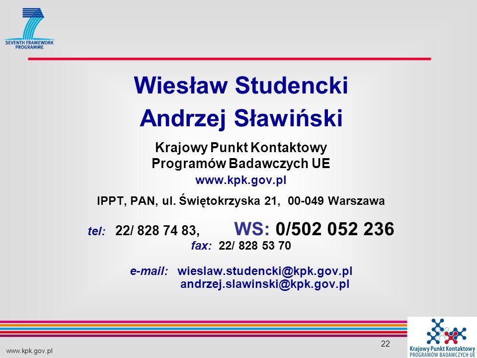 www.kpk.gov.pl 22 Wiesław Studencki Andrzej Sławiński Krajowy Punkt Kontaktowy Programów Badawczych UE www.kpk.gov.pl IPPT, PAN, ul.