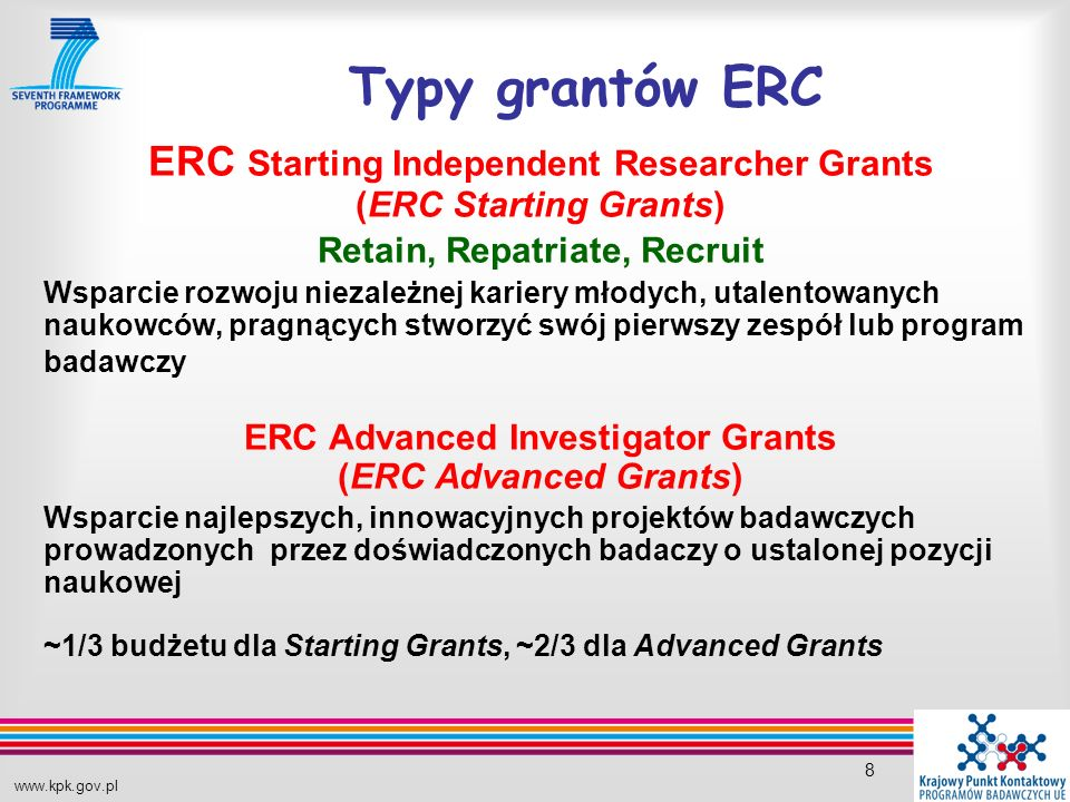 www.kpk.gov.pl 8 Typy grantów ERC ERC Starting Independent Researcher Grants (ERC Starting Grants) Retain, Repatriate, Recruit Wsparcie rozwoju niezal