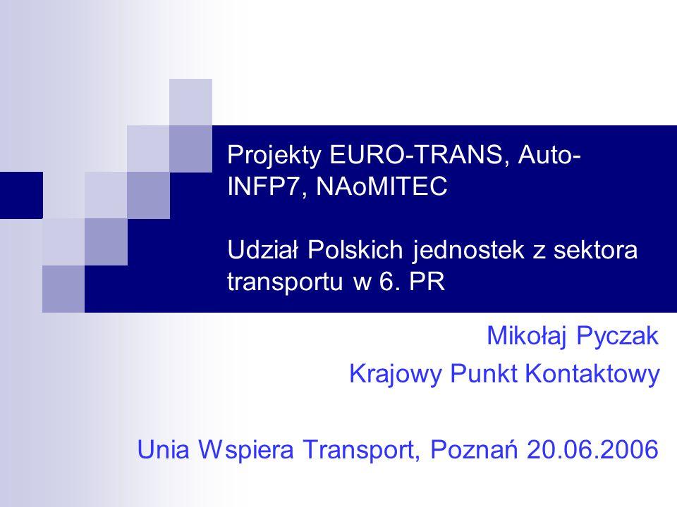 Projekty EURO-TRANS, Auto- INFP7, NAoMITEC Udział Polskich jednostek z sektora transportu w 6.