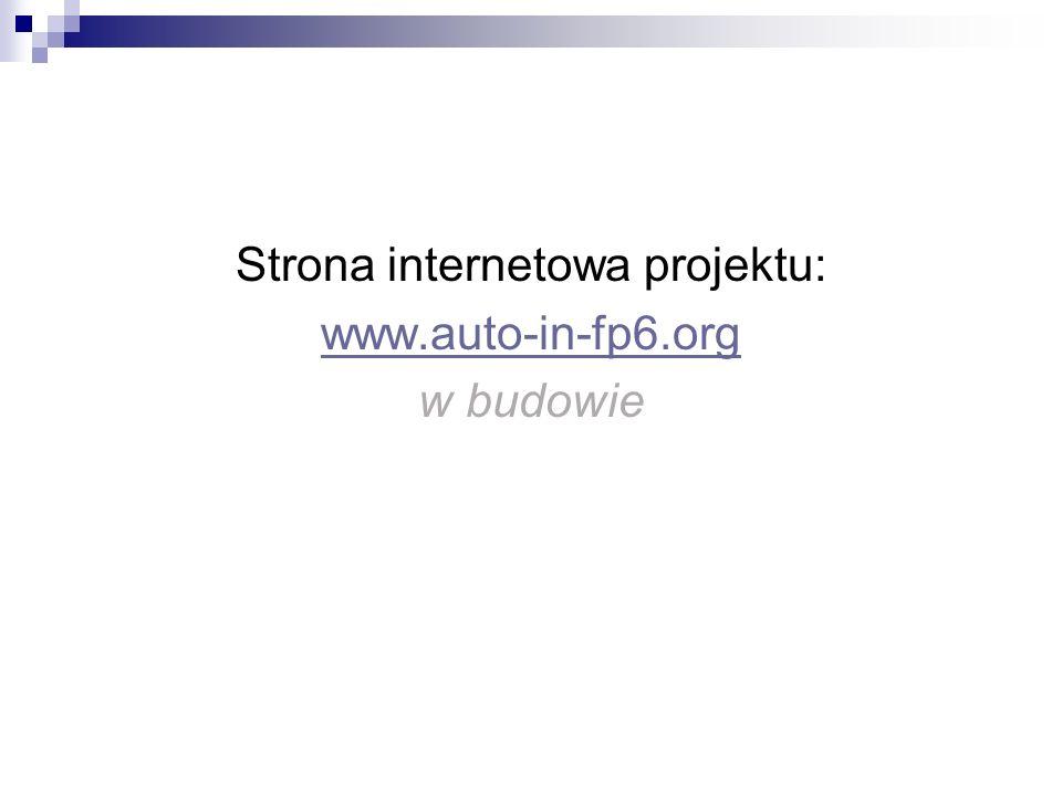Strona internetowa projektu: www.auto-in-fp6.org w budowie