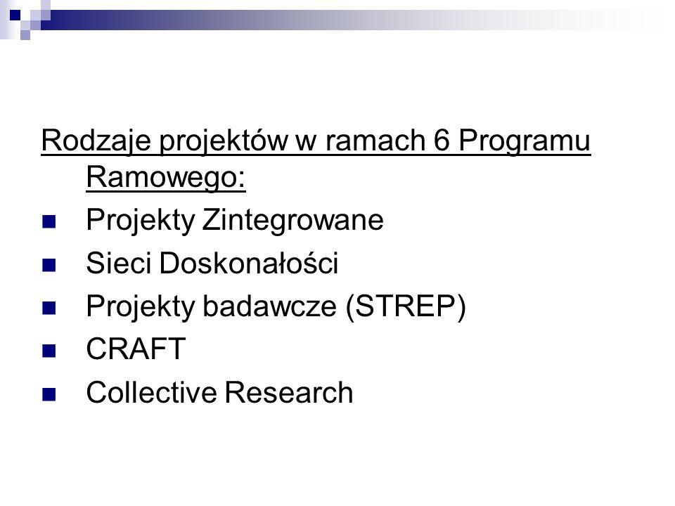 Rodzaje projektów w ramach 6 Programu Ramowego: Projekty Zintegrowane Sieci Doskonałości Projekty badawcze (STREP) CRAFT Collective Research