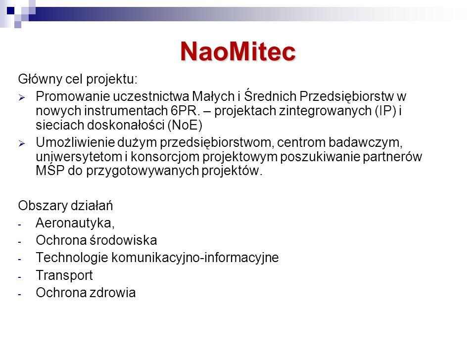 NaoMitec Główny cel projektu: Promowanie uczestnictwa Małych i Średnich Przedsiębiorstw w nowych instrumentach 6PR.