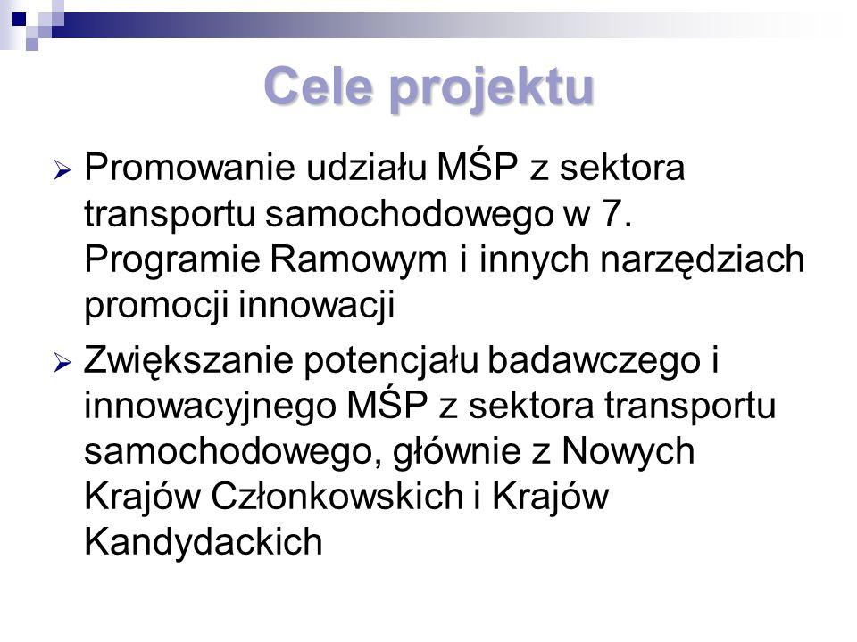 Cele projektu Promowanie udziału MŚP z sektora transportu samochodowego w 7.