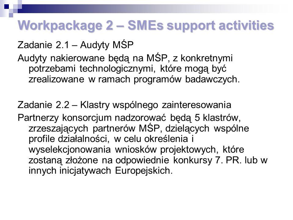 Workpackage 2 – SMEs support activities Zadanie 2.1 – Audyty MŚP Audyty nakierowane będą na MŚP, z konkretnymi potrzebami technologicznymi, które mogą być zrealizowane w ramach programów badawczych.
