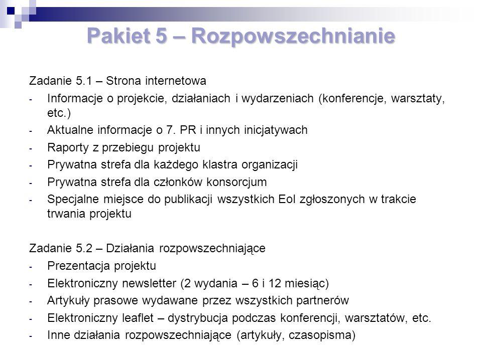 Pakiet 5 – Rozpowszechnianie Zadanie 5.1 – Strona internetowa - Informacje o projekcie, działaniach i wydarzeniach (konferencje, warsztaty, etc.) - Aktualne informacje o 7.