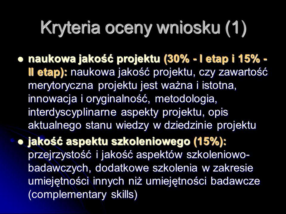 Kryteria oceny wniosku (1) naukowa jakość projektu (30% - I etap i 15% - II etap): naukowa jakość projektu, czy zawartość merytoryczna projektu jest w