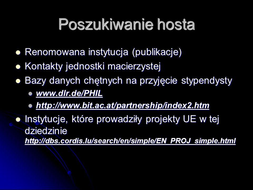 Poszukiwanie hosta Renomowana instytucja (publikacje) Renomowana instytucja (publikacje) Kontakty jednostki macierzystej Kontakty jednostki macierzyst