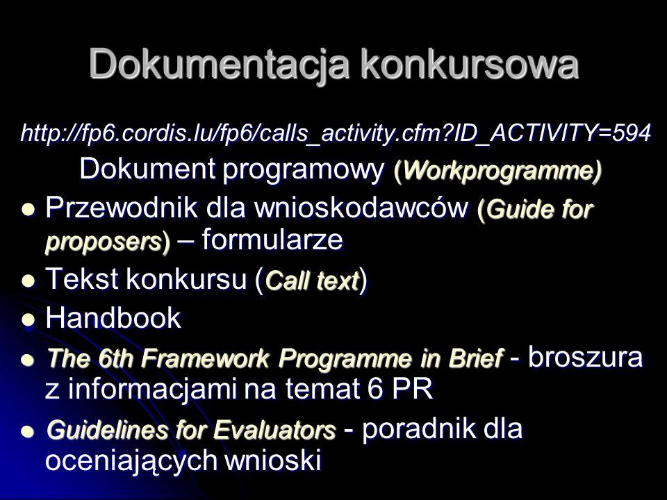 Dokumentacja konkursowa http://fp6.cordis.lu/fp6/calls_activity.cfm?ID_ACTIVITY=594 Dokument programowy (Workprogramme) Przewodnik dla wnioskodawców (