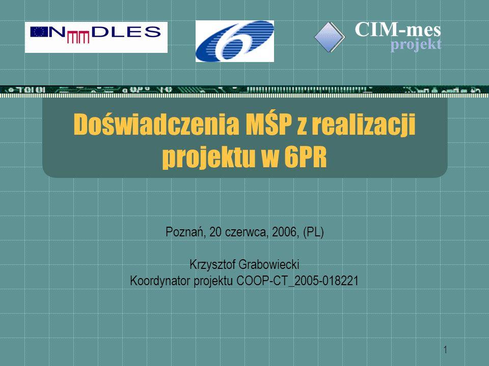 1 Doświadczenia MŚP z realizacji projektu w 6PR Poznań, 20 czerwca, 2006, (PL) Krzysztof Grabowiecki Koordynator projektu COOP-CT_2005-018221
