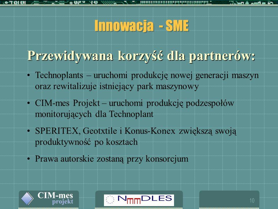 10 Innowacja - SME Przewidywana korzyść dla partnerów: Technoplants – uruchomi produkcję nowej generacji maszyn oraz rewitalizuje istniejący park maszynowy CIM-mes Projekt – uruchomi produkcję podzespołów monitorujących dla Technoplant SPERITEX, Geotxtile i Konus-Konex zwiększą swoją produktywność po kosztach Prawa autorskie zostaną przy konsorcjum