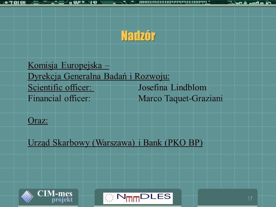 17 Nadzór Komisja Europejska – Dyrekcja Generalna Badań i Rozwoju: Scientific officer: Josefina Lindblom Financial officer: Marco Taquet-Graziani Oraz: Urząd Skarbowy (Warszawa) i Bank (PKO BP)