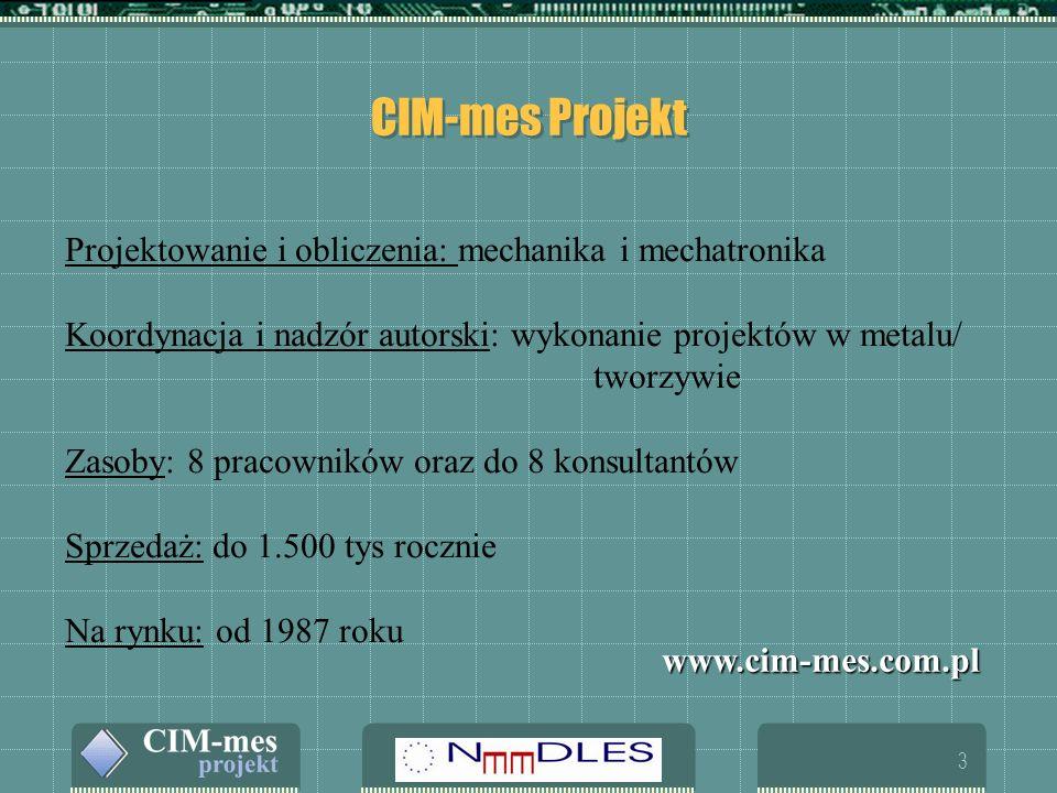 3 CIM-mes Projekt Projektowanie i obliczenia: mechanika i mechatronika Koordynacja i nadzór autorski: wykonanie projektów w metalu/ tworzywie Zasoby: 8 pracowników oraz do 8 konsultantów Sprzedaż: do 1.500 tys rocznie Na rynku: od 1987 roku www.cim-mes.com.pl
