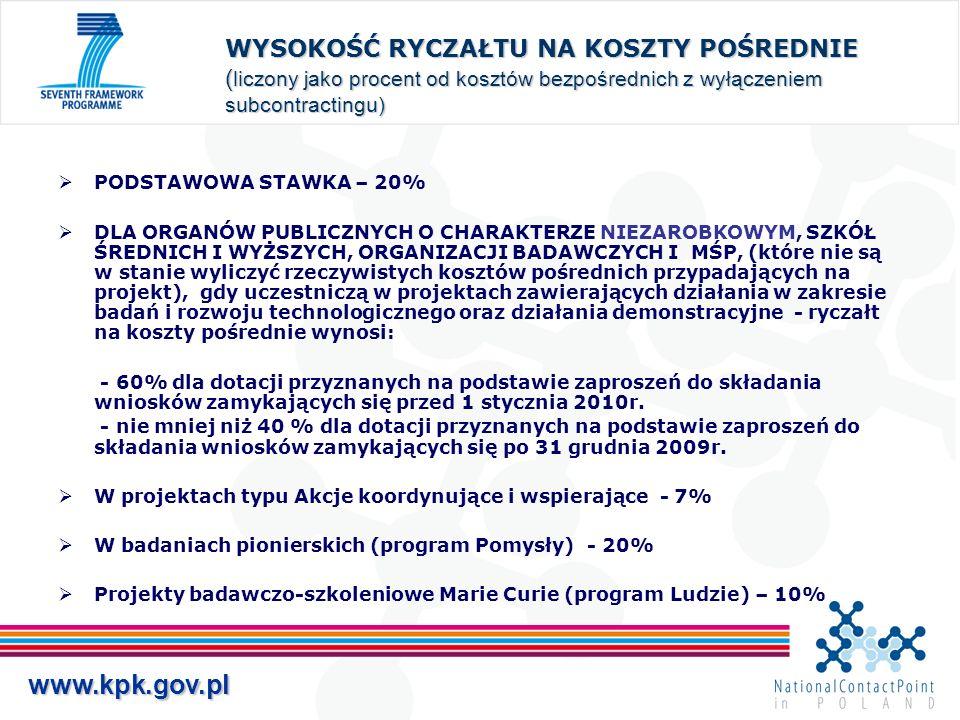 www.kpk.gov.pl WYSOKOŚĆ RYCZAŁTU NA KOSZTY POŚREDNIE ( liczony jako procent od kosztów bezpośrednich z wyłączeniem subcontractingu) PODSTAWOWA STAWKA