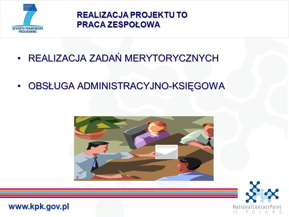 www.kpk.gov.pl REALIZACJA PROJEKTU TO PRACA ZESPOŁOWA REALIZACJA ZADAŃ MERYTORYCZNYCHREALIZACJA ZADAŃ MERYTORYCZNYCH OBSŁUGA ADMINISTRACYJNO-KSIĘGOWAO
