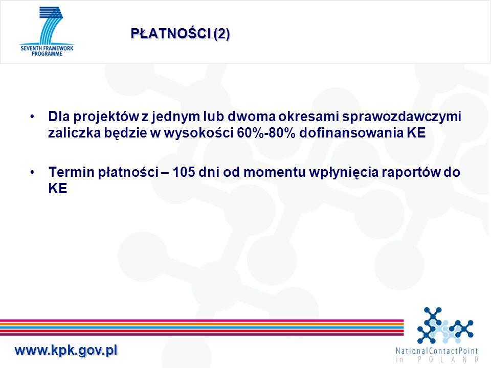 www.kpk.gov.pl PŁATNOŚCI (2) Dla projektów z jednym lub dwoma okresami sprawozdawczymi zaliczka będzie w wysokości 60%-80% dofinansowania KE Termin pł