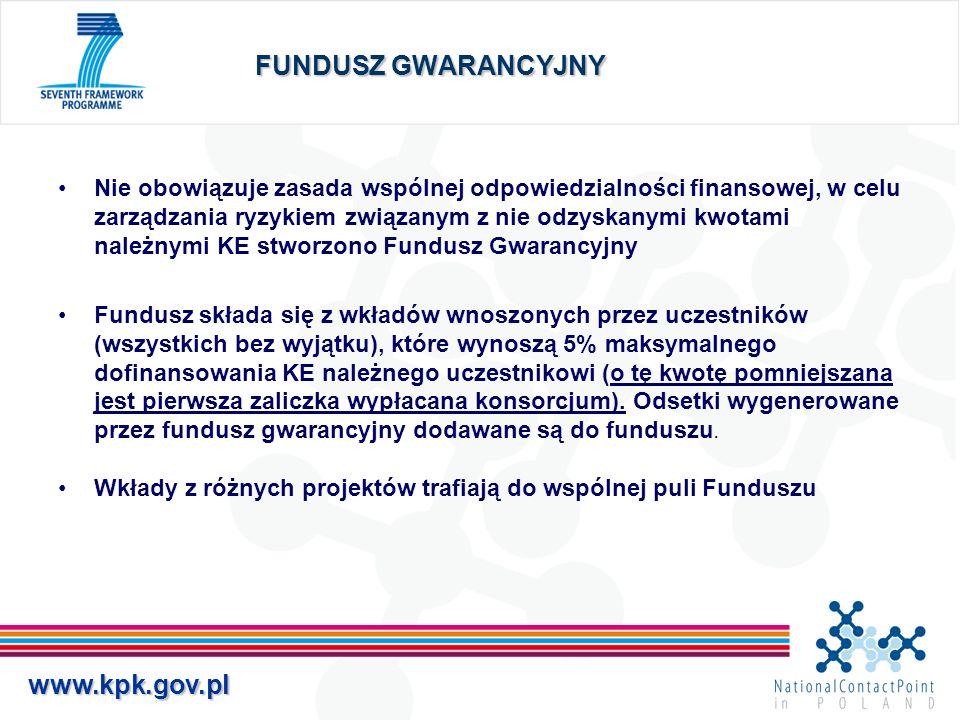 www.kpk.gov.pl FUNDUSZ GWARANCYJNY Nie obowiązuje zasada wspólnej odpowiedzialności finansowej, w celu zarządzania ryzykiem związanym z nie odzyskanym