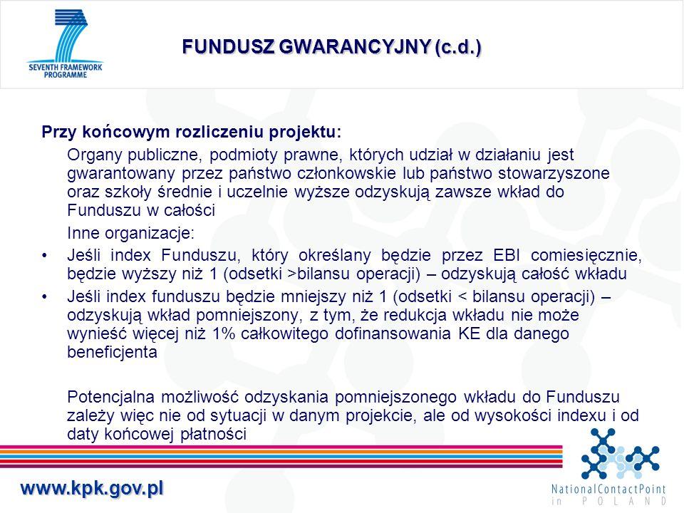 www.kpk.gov.pl FUNDUSZ GWARANCYJNY (c.d.) Przy końcowym rozliczeniu projektu: Organy publiczne, podmioty prawne, których udział w działaniu jest gwara