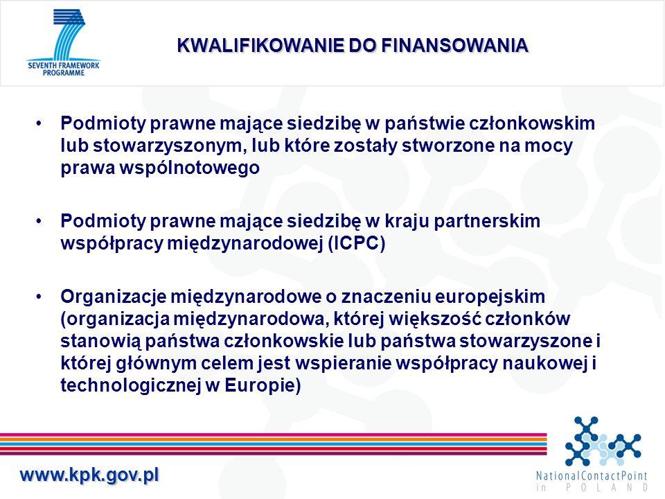www.kpk.gov.pl KWALIFIKOWANIE DO FINANSOWANIA W przypadku podmiotów innych, niż wymienione w poprzednim slajdzie, dofinansowanie KE może być przyznane pod warunkiem spełnienia przynajmniej jednego z poniższych warunków: W programach szczegółowych lub w odpowiednim programie pracy przewidziano taką możliwość Dofinansowanie to ma istotne znaczenie dla realizacji projektu Finansowanie takie jest przewidziane w dwustronnej umowie o współpracy naukowej i technicznej lub w innej umowie zawartej między Wspólnotą a państwem, w którym podmiot prawny ma swoją siedzibę