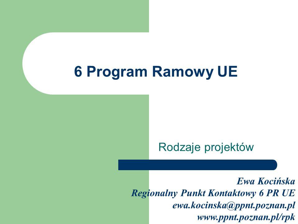 6 Program Ramowy UE Rodzaje projektów Ewa Kocińska Regionalny Punkt Kontaktowy 6 PR UE ewa.kocinska@ppnt.poznan.pl www.ppnt.poznan.pl/rpk