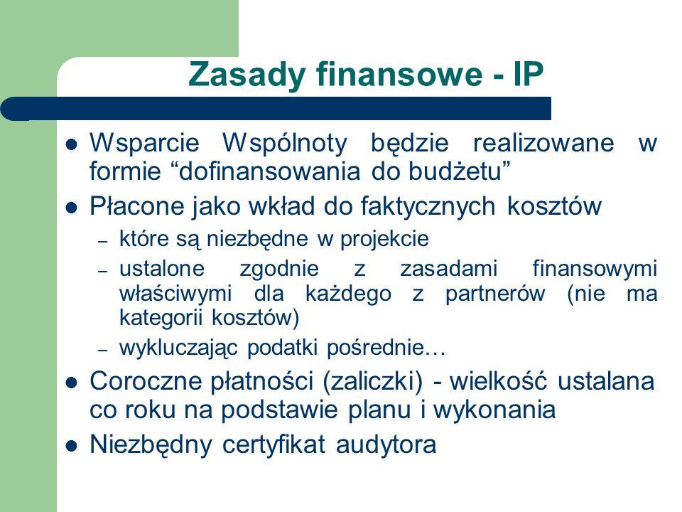 Zasady finansowe - IP Wsparcie Wspólnoty będzie realizowane w formie dofinansowania do budżetu Płacone jako wkład do faktycznych kosztów – które są niezbędne w projekcie – ustalone zgodnie z zasadami finansowymi właściwymi dla każdego z partnerów (nie ma kategorii kosztów) – wykluczając podatki pośrednie… Coroczne płatności (zaliczki) - wielkość ustalana co roku na podstawie planu i wykonania Niezbędny certyfikat audytora