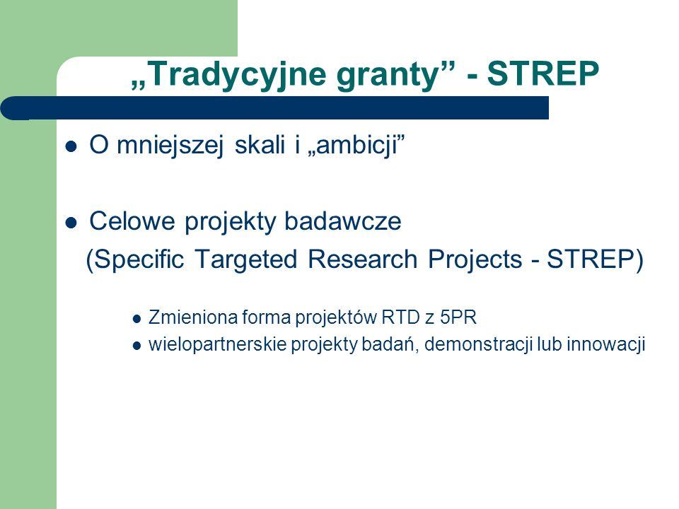 Tradycyjne granty - STREP O mniejszej skali i ambicji Celowe projekty badawcze (Specific Targeted Research Projects - STREP) Zmieniona forma projektów RTD z 5PR wielopartnerskie projekty badań, demonstracji lub innowacji