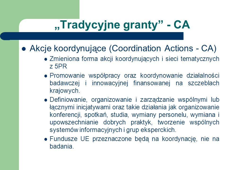 Tradycyjne granty - CA Akcje koordynujące (Coordination Actions - CA) Zmieniona forma akcji koordynujących i sieci tematycznych z 5PR Promowanie współpracy oraz koordynowanie działalności badawczej i innowacyjnej finansowanej na szczeblach krajowych.