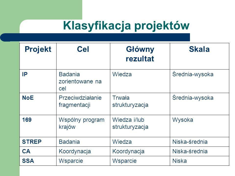 Klasyfikacja projektów ProjektCelGłówny rezultat Skala IPBadania zorientowane na cel WiedzaŚrednia-wysoka NoEPrzeciwdziałanie fragmentacji Trwała strukturyzacja Średnia-wysoka 169Wspólny program krajów Wiedza i/lub strukturyzacja Wysoka STREPBadaniaWiedzaNiska-średnia CAKoordynacja Niska-średnia SSAWsparcie Niska