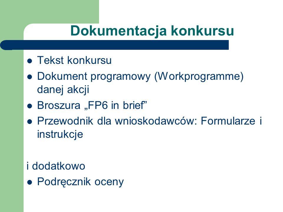 Dokumentacja konkursu Tekst konkursu Dokument programowy (Workprogramme) danej akcji Broszura FP6 in brief Przewodnik dla wnioskodawców: Formularze i instrukcje i dodatkowo Podręcznik oceny