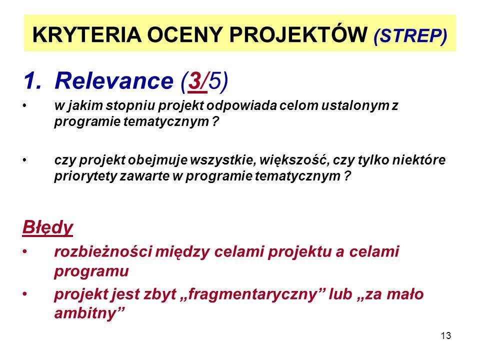 13 KRYTERIA OCENY PROJEKTÓW (STREP) 1.Relevance (3/5) w jakim stopniu projekt odpowiada celom ustalonym z programie tematycznym .
