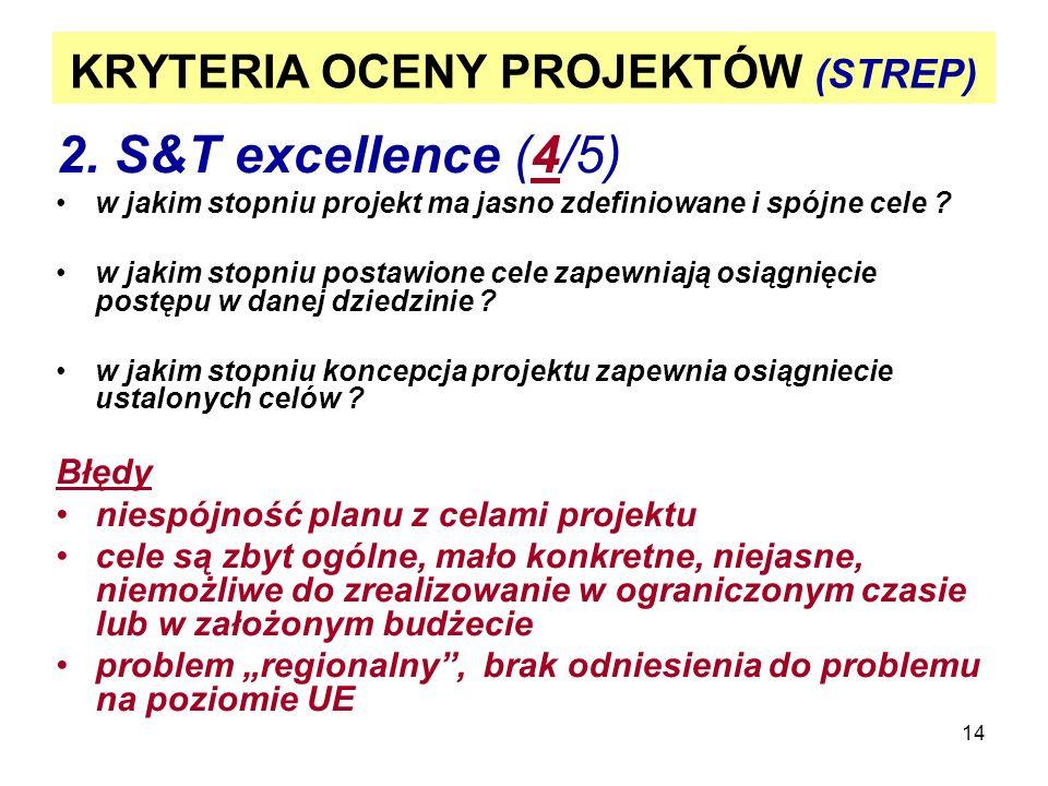 14 KRYTERIA OCENY PROJEKTÓW (STREP) 2. S&T excellence (4/5) w jakim stopniu projekt ma jasno zdefiniowane i spójne cele ? w jakim stopniu postawione c