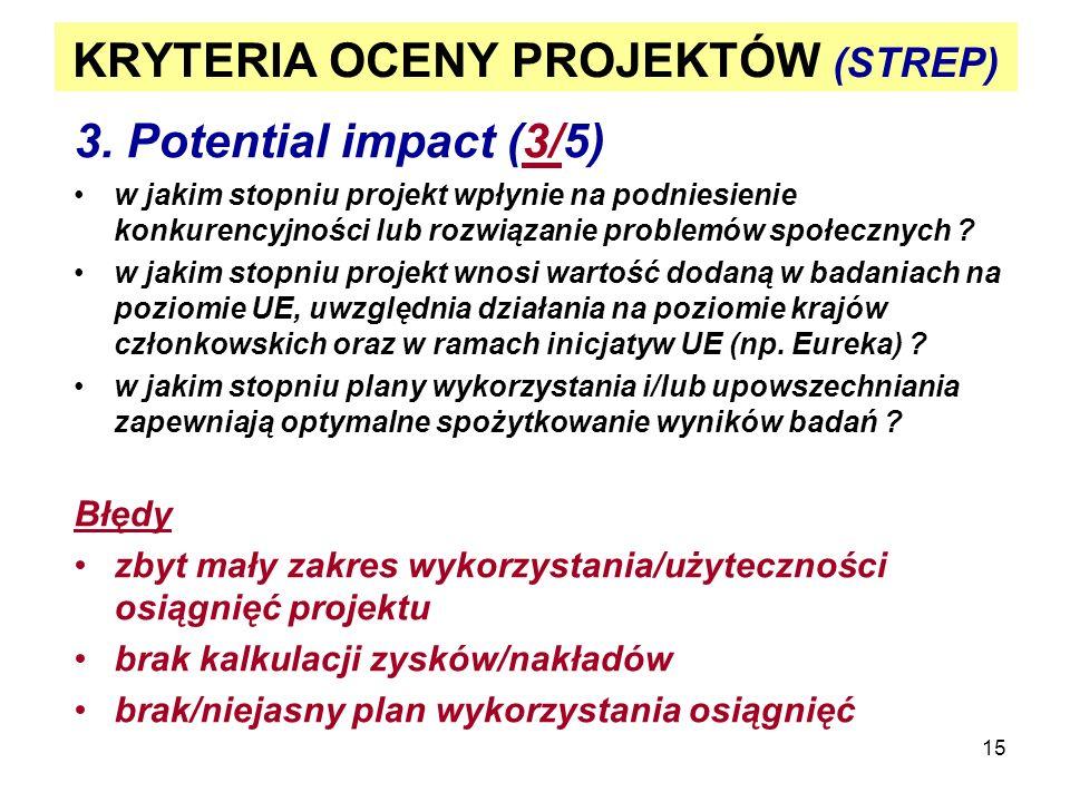 15 KRYTERIA OCENY PROJEKTÓW (STREP) 3. Potential impact (3/5) w jakim stopniu projekt wpłynie na podniesienie konkurencyjności lub rozwiązanie problem