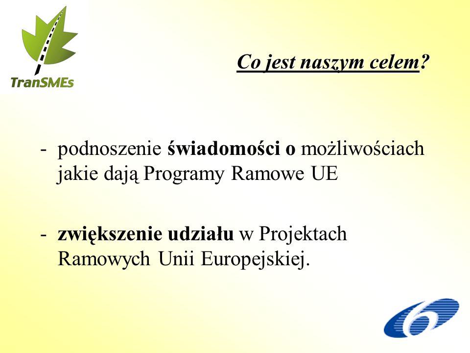 Co jest naszym celem? -podnoszenie świadomości o możliwościach jakie dają Programy Ramowe UE -zwiększenie udziału w Projektach Ramowych Unii Europejsk
