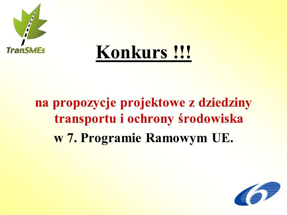 Konkurs !!! na propozycje projektowe z dziedziny transportu i ochrony środowiska w 7. Programie Ramowym UE.