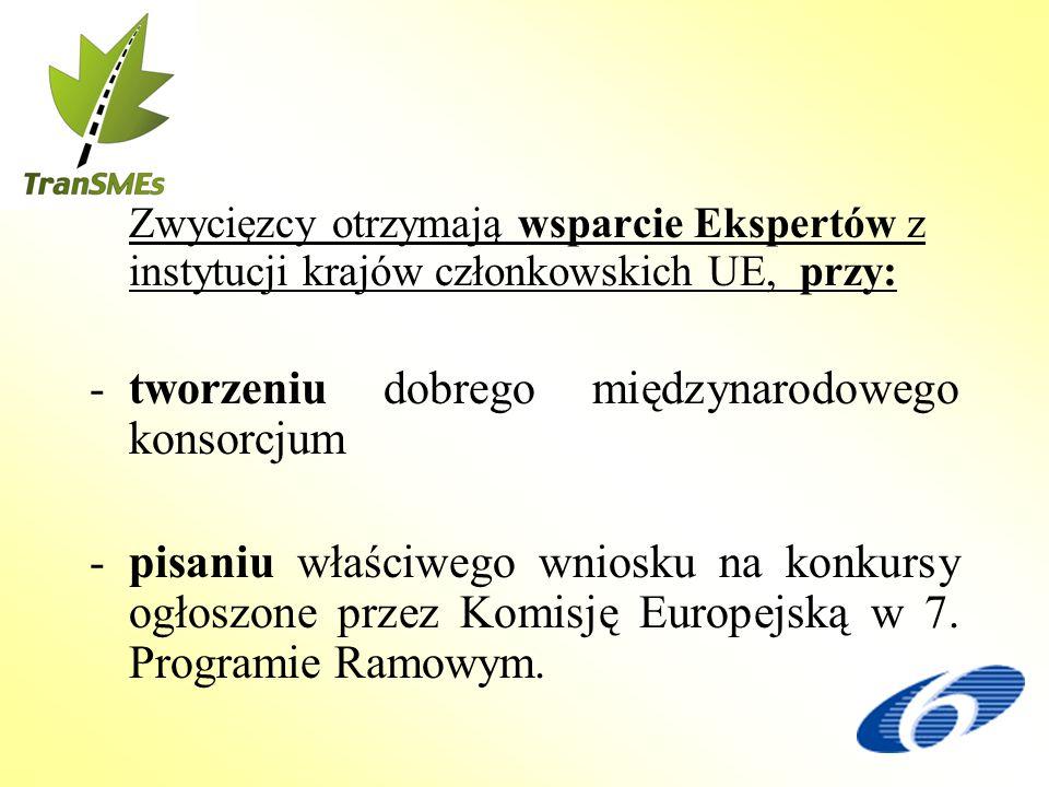 Zwycięzcy otrzymają wsparcie Ekspertów z instytucji krajów członkowskich UE, przy: -tworzeniu dobrego międzynarodowego konsorcjum -pisaniu właściwego wniosku na konkursy ogłoszone przez Komisję Europejską w 7.