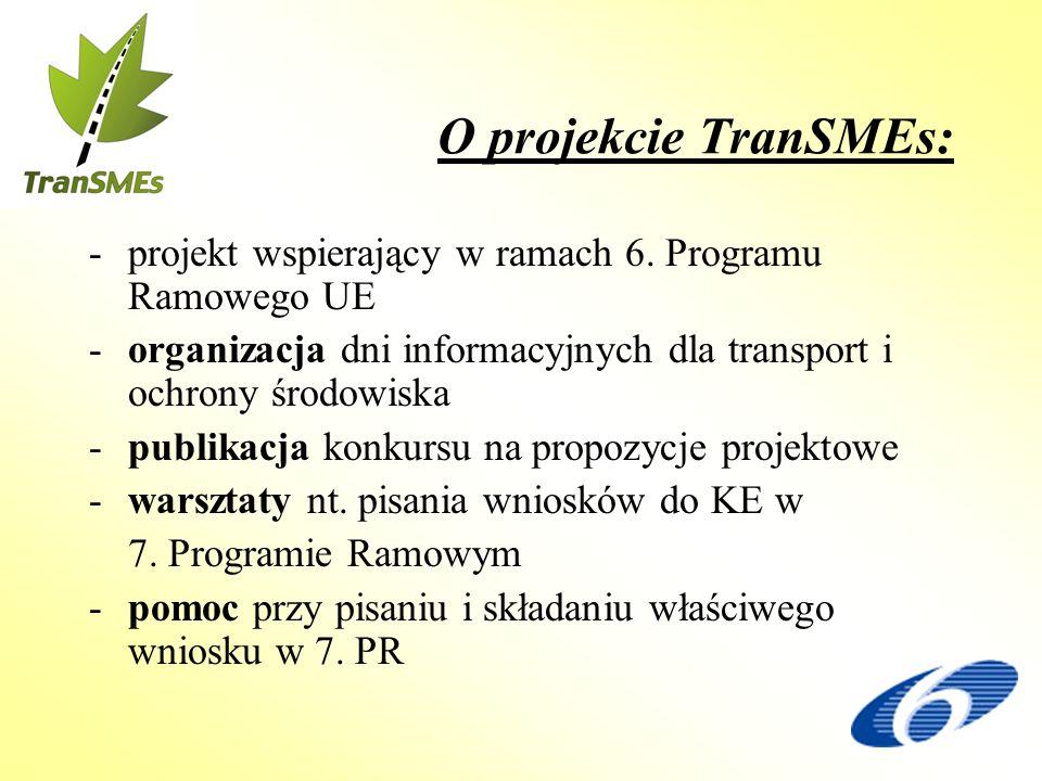 O projekcie TranSMEs: -projekt wspierający w ramach 6. Programu Ramowego UE -organizacja dni informacyjnych dla transport i ochrony środowiska -publik