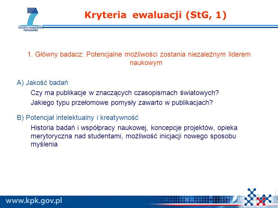 12 Kryteria ewaluacji (StG, 1) 1.