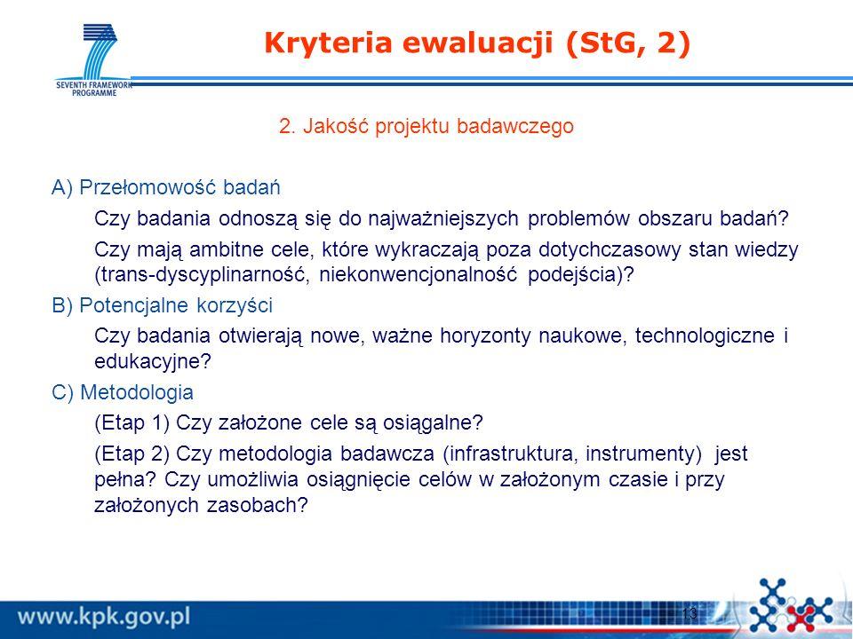 13 Kryteria ewaluacji (StG, 2) 2.