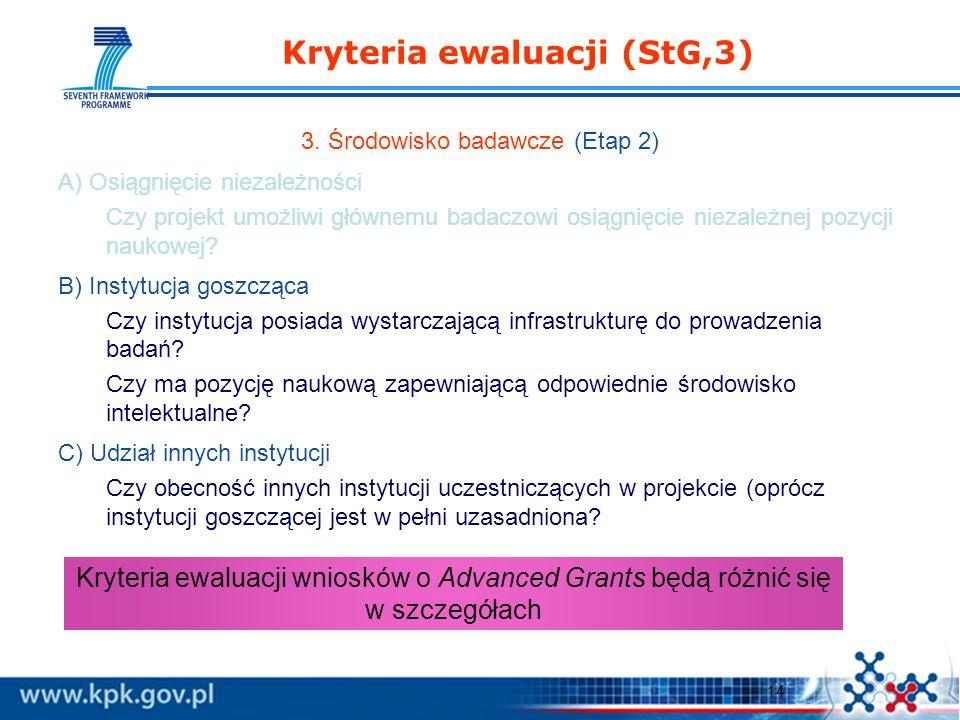 14 Kryteria ewaluacji (StG,3) 3.