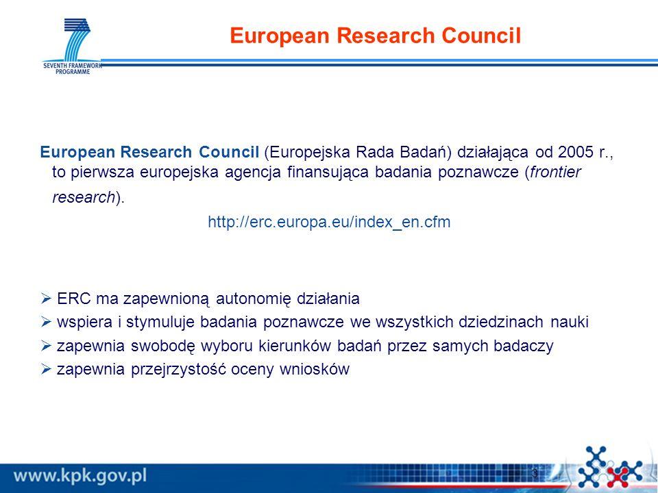 3 European Research Council European Research Council (Europejska Rada Badań) działająca od 2005 r., to pierwsza europejska agencja finansująca badania poznawcze (frontier research).