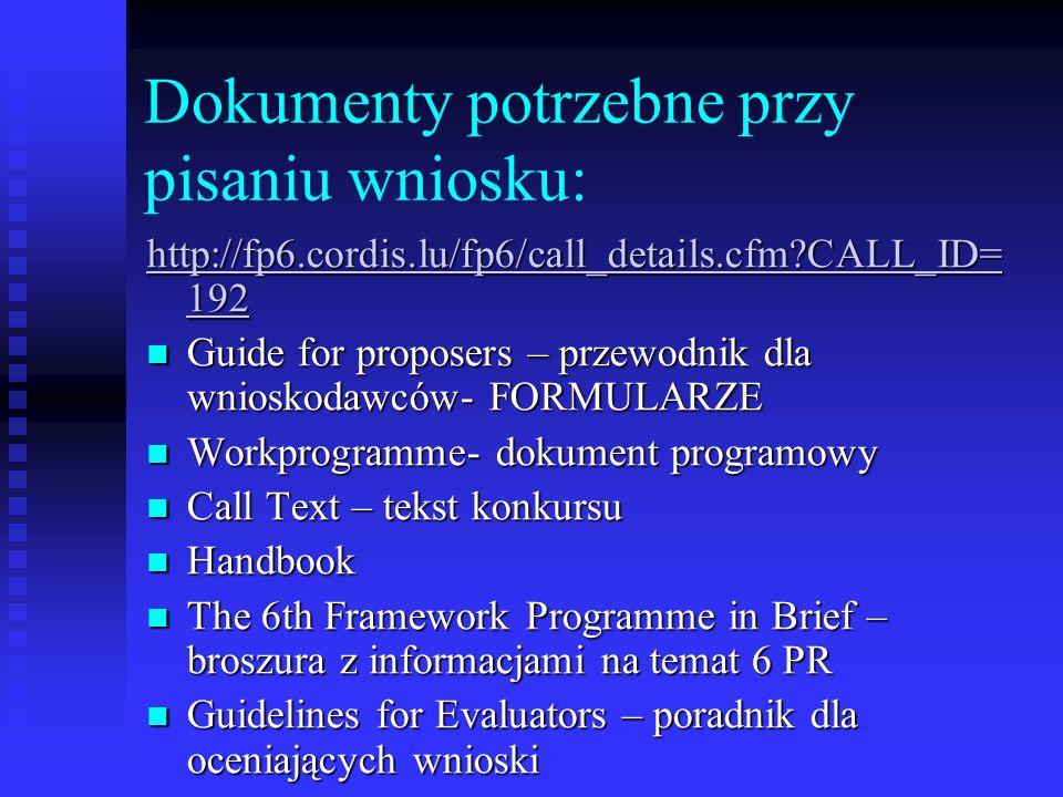 Dokumenty potrzebne przy pisaniu wniosku: http://fp6.cordis.lu/fp6/call_details.cfm?CALL_ID= 192 http://fp6.cordis.lu/fp6/call_details.cfm?CALL_ID= 19