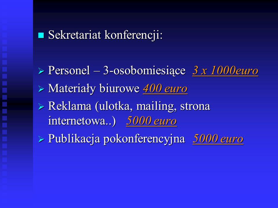 Sekretariat konferencji: Sekretariat konferencji: Personel – 3-osobomiesiące 3 x 1000euro Personel – 3-osobomiesiące 3 x 1000euro Materiały biurowe 40