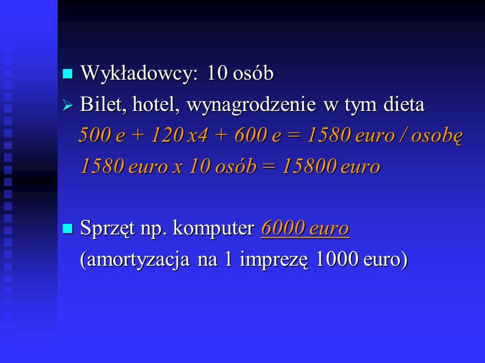 Wykładowcy: 10 osób Wykładowcy: 10 osób Bilet, hotel, wynagrodzenie w tym dieta Bilet, hotel, wynagrodzenie w tym dieta 500 e + 120 x4 + 600 e = 1580