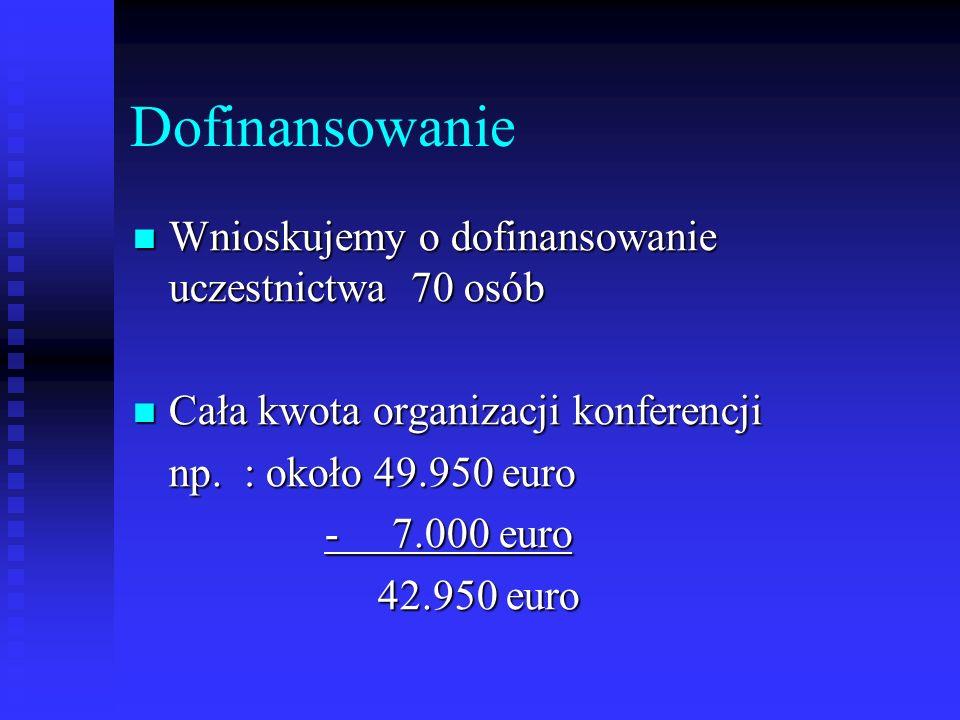 Dofinansowanie Wnioskujemy o dofinansowanie uczestnictwa 70 osób Wnioskujemy o dofinansowanie uczestnictwa 70 osób Cała kwota organizacji konferencji