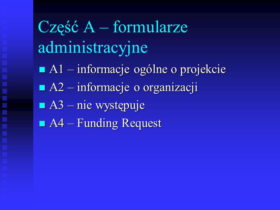 Część A – formularze administracyjne A1 – informacje ogólne o projekcie A1 – informacje ogólne o projekcie A2 – informacje o organizacji A2 – informac