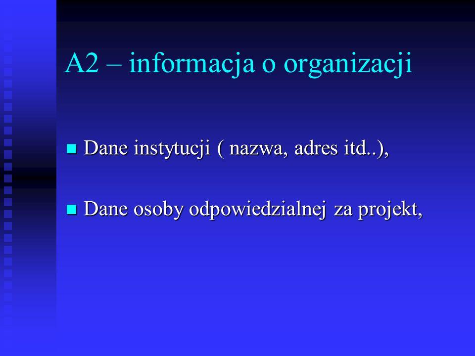 A2 – informacja o organizacji Dane instytucji ( nazwa, adres itd..), Dane instytucji ( nazwa, adres itd..), Dane osoby odpowiedzialnej za projekt, Dan